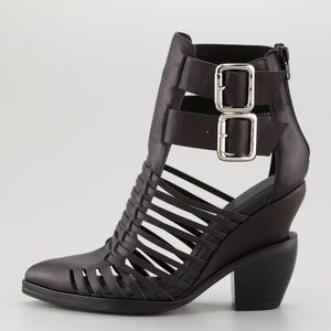 Jeffrey Campbell Cantu Caged Black Leather Bootie
